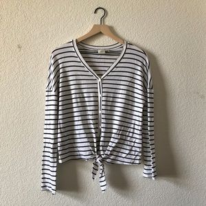 Good Luck Gem Striped Button Tie Front Long Sleeve Thermal